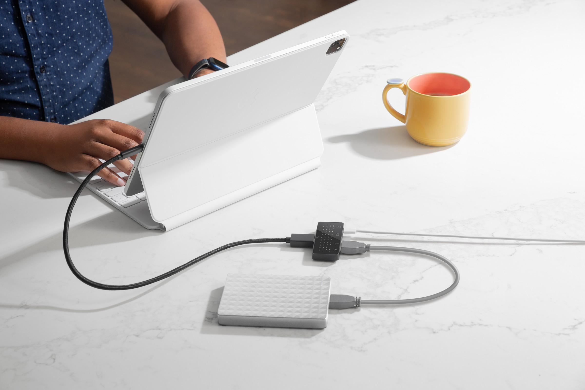 付属のケーブルでiPadやその他の機器とダイレクト接続もOK